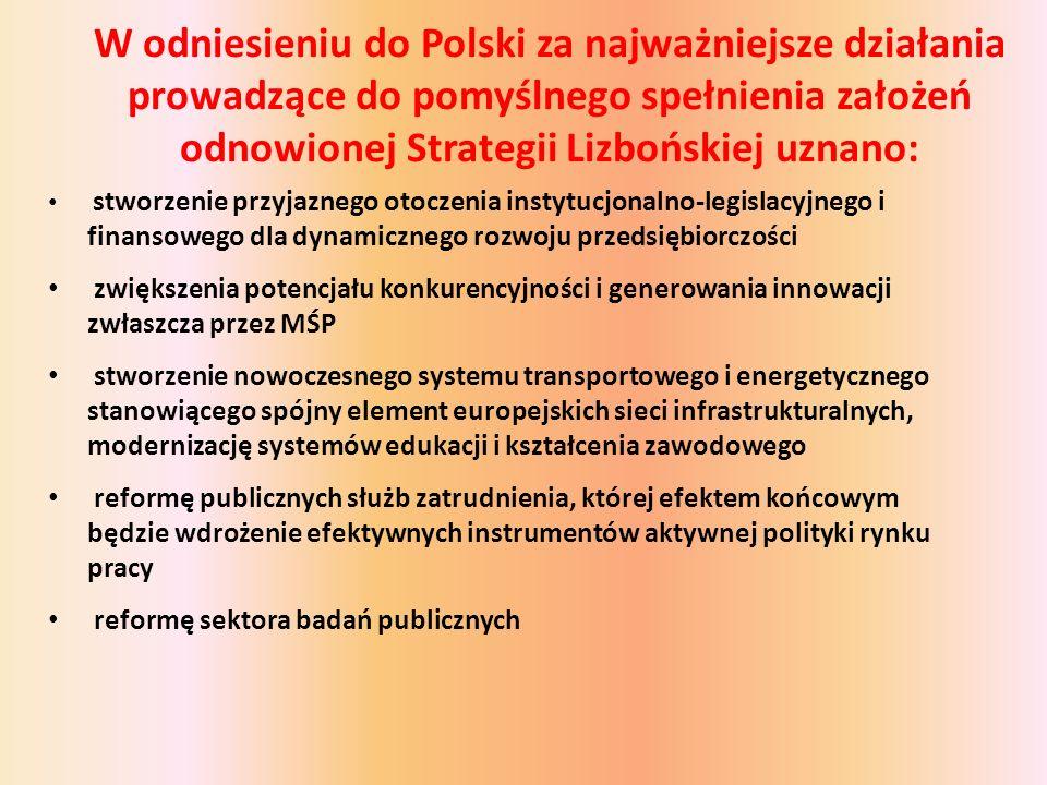 W odniesieniu do Polski za najważniejsze działania prowadzące do pomyślnego spełnienia założeń odnowionej Strategii Lizbońskiej uznano: stworzenie przyjaznego otoczenia instytucjonalno-legislacyjnego i finansowego dla dynamicznego rozwoju przedsiębiorczości zwiększenia potencjału konkurencyjności i generowania innowacji zwłaszcza przez MŚP stworzenie nowoczesnego systemu transportowego i energetycznego stanowiącego spójny element europejskich sieci infrastrukturalnych, modernizację systemów edukacji i kształcenia zawodowego reformę publicznych służb zatrudnienia, której efektem końcowym będzie wdrożenie efektywnych instrumentów aktywnej polityki rynku pracy reformę sektora badań publicznych