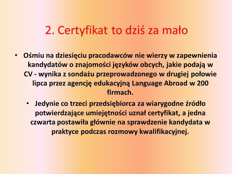 2. Certyfikat to dziś za mało Ośmiu na dziesięciu pracodawców nie wierzy w zapewnienia kandydatów o znajomości języków obcych, jakie podają w CV - wyn