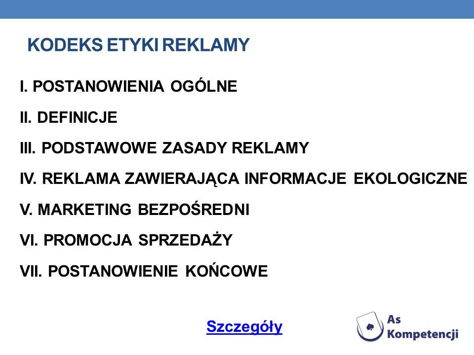 KODEKS ETYKI REKLAMY I. POSTANOWIENIA OGÓLNE II. DEFINICJE III.