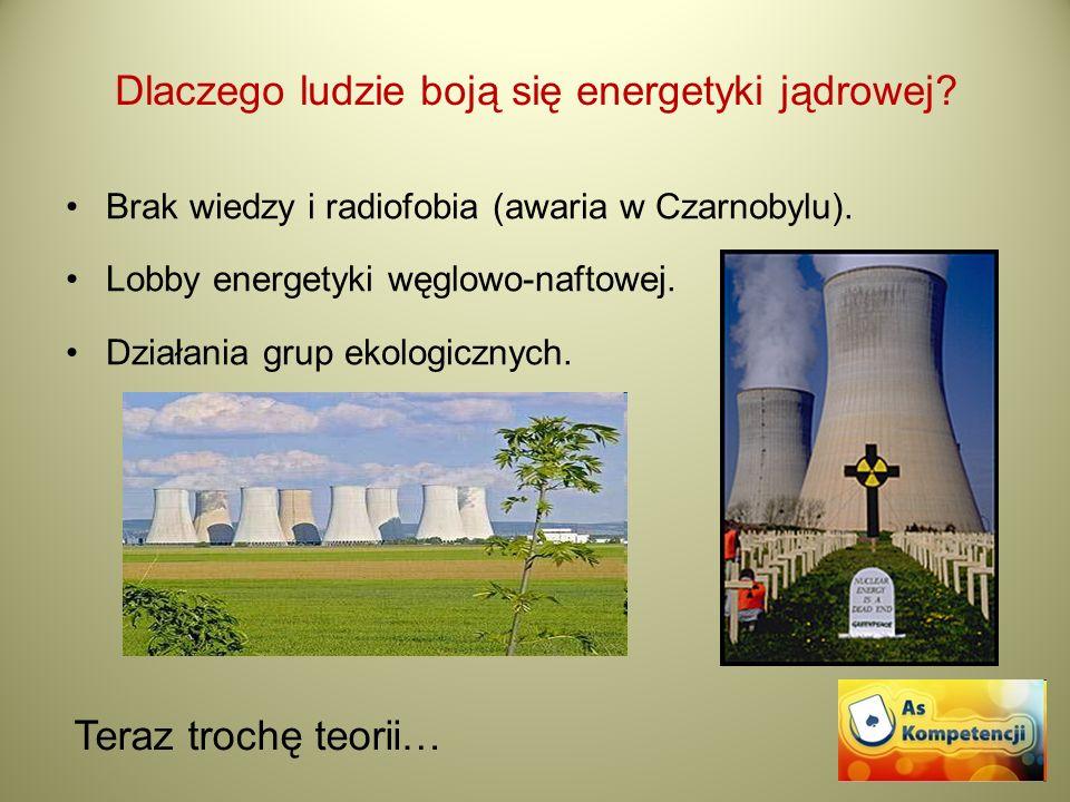 Dlaczego ludzie boją się energetyki jądrowej? Brak wiedzy i radiofobia (awaria w Czarnobylu). Lobby energetyki węglowo-naftowej. Działania grup ekolog