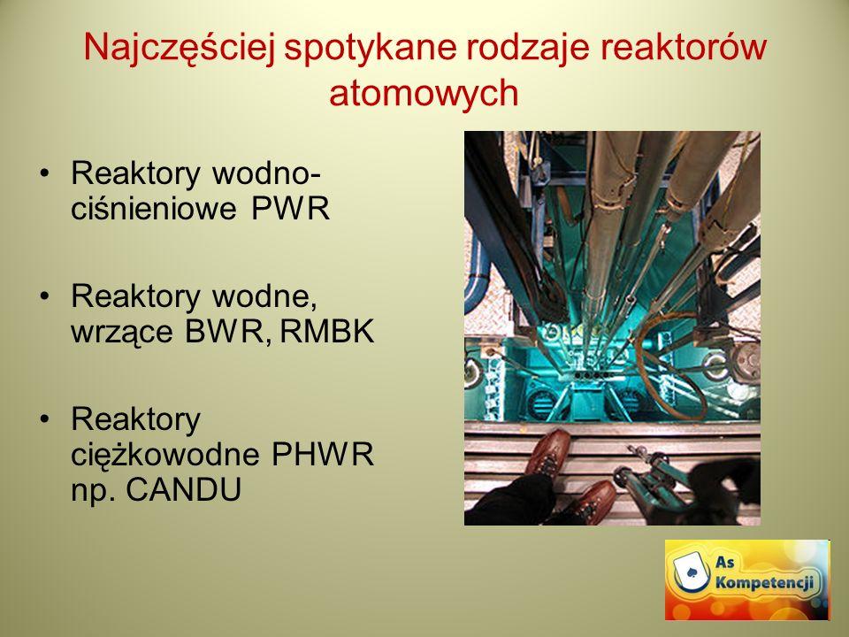 Najczęściej spotykane rodzaje reaktorów atomowych Reaktory wodno- ciśnieniowe PWR Reaktory wodne, wrzące BWR, RMBK Reaktory ciężkowodne PHWR np. CANDU