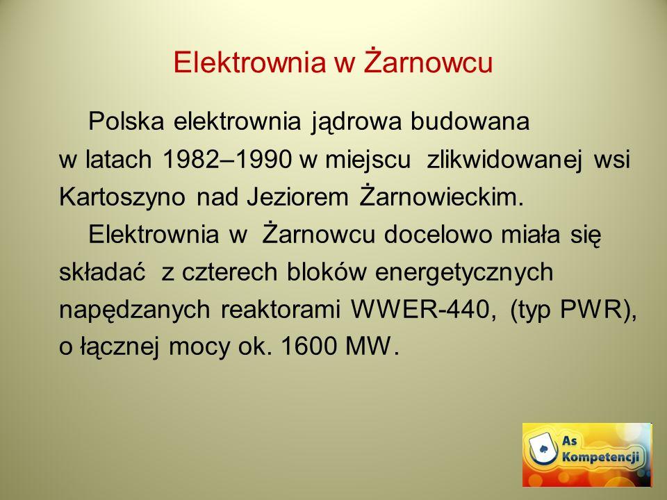 Elektrownia w Żarnowcu Polska elektrownia jądrowa budowana w latach 1982–1990 w miejscu zlikwidowanej wsi Kartoszyno nad Jeziorem Żarnowieckim. Elektr