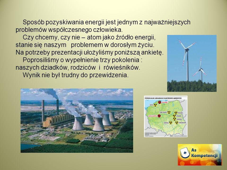 Sposób pozyskiwania energii jest jednym z najważniejszych problemów współczesnego człowieka. Czy chcemy, czy nie – atom jako źródło energii, stanie si