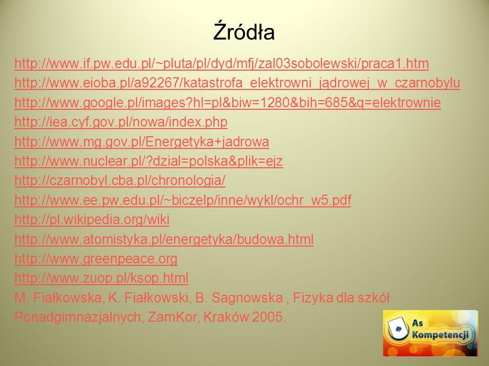 Źródła http://www.if.pw.edu.pl/~pluta/pl/dyd/mfj/zal03sobolewski/praca1.htm http://www.eioba.pl/a92267/katastrofa_elektrowni_jądrowej_w_czarnobylu htt