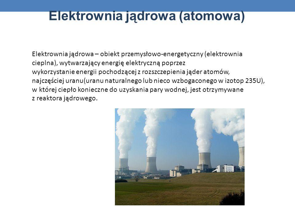 Elektrownia jądrowa (atomowa) Elektrownia jądrowa – obiekt przemysłowo-energetyczny (elektrownia cieplna), wytwarzający energię elektryczną poprzez wykorzystanie energii pochodzącej z rozszczepienia jąder atomów, najczęściej uranu(uranu naturalnego lub nieco wzbogaconego w izotop 235U), w której ciepło konieczne do uzyskania pary wodnej, jest otrzymywane z reaktora jądrowego.