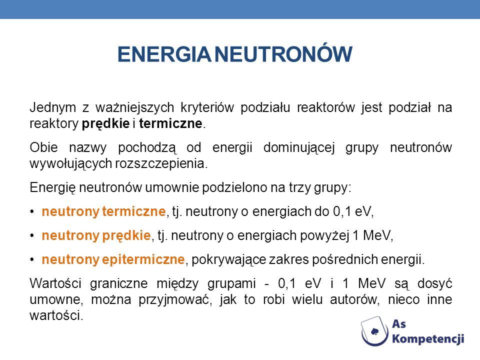 ENERGIA NEUTRONÓW Jednym z ważniejszych kryteriów podziału reaktorów jest podział na reaktory prędkie i termiczne.