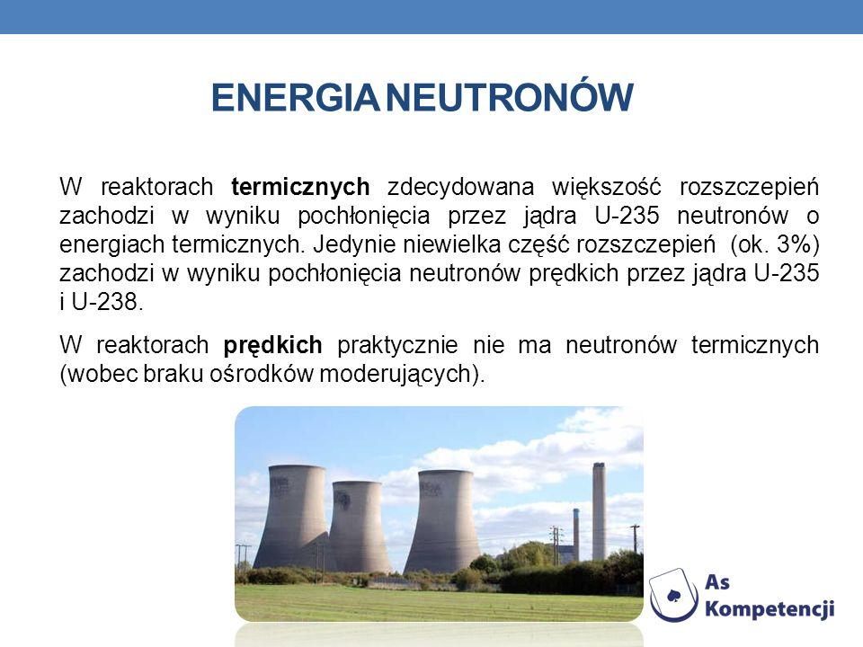 ENERGIA NEUTRONÓW W reaktorach termicznych zdecydowana większość rozszczepień zachodzi w wyniku pochłonięcia przez jądra U-235 neutronów o energiach termicznych.