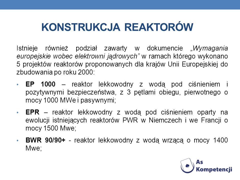 KONSTRUKCJA REAKTORÓW Istnieje również podział zawarty w dokumencie Wymagania europejskie wobec elektrowni jądrowych w ramach którego wykonano 5 projektów reaktorów proponowanych dla krajów Unii Europejskiej do zbudowania po roku 2000: EP 1000 – reaktor lekkowodny z wodą pod ciśnieniem i pozytywnymi bezpieczeństwa, z 3 pętlami obiegu, pierwotnego o mocy 1000 MWe i pasywnymi; EPR – reaktor lekkowodny z wodą pod ciśnieniem oparty na ewolucji istniejących reaktorów PWR w Niemczech i we Francji o mocy 1500 Mwe; BWR 90/90+ - reaktor lekkowodny z wodą wrzącą o mocy 1400 Mwe;