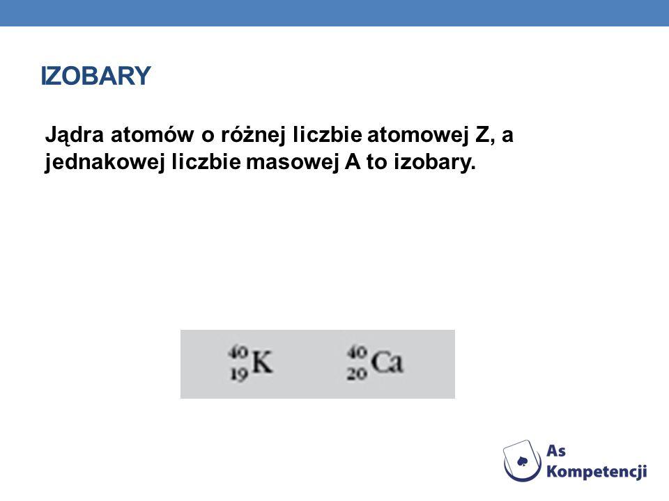 IZOBARY Jądra atomów o różnej liczbie atomowej Z, a jednakowej liczbie masowej A to izobary.