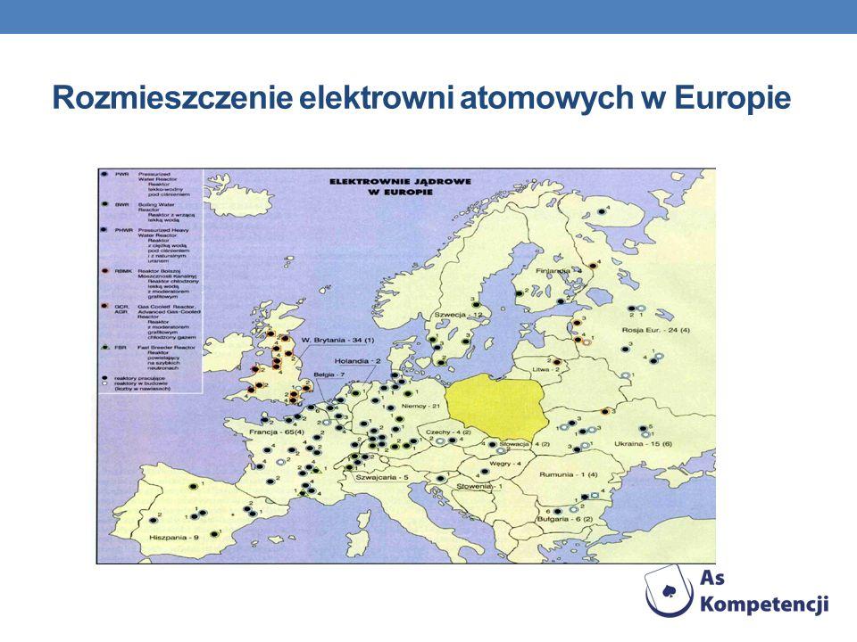 Rozmieszczenie elektrowni atomowych w Europie