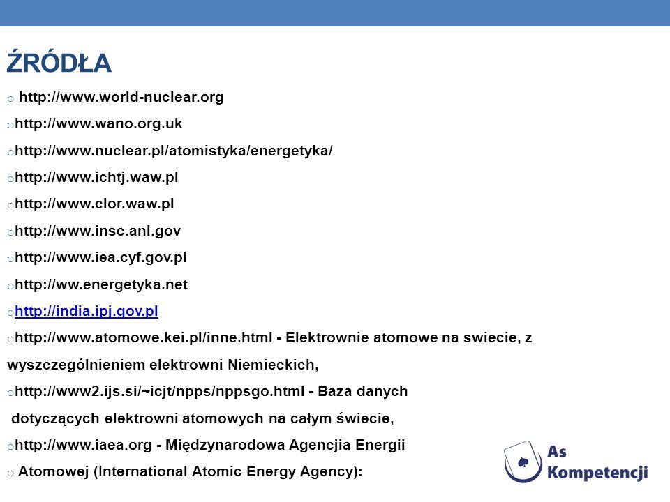 ŹRÓDŁA o http://www.world-nuclear.org o http://www.wano.org.uk o http://www.nuclear.pl/atomistyka/energetyka/ o http://www.ichtj.waw.pl o http://www.clor.waw.pl o http://www.insc.anl.gov o http://www.iea.cyf.gov.pl o http://ww.energetyka.net o http://india.ipj.gov.pl http://india.ipj.gov.pl o http://www.atomowe.kei.pl/inne.html - Elektrownie atomowe na swiecie, z wyszczególnieniem elektrowni Niemieckich, o http://www2.ijs.si/~icjt/npps/nppsgo.html - Baza danych dotyczących elektrowni atomowych na całym świecie, o http://www.iaea.org - Międzynarodowa Agencjia Energii o Atomowej (International Atomic Energy Agency):