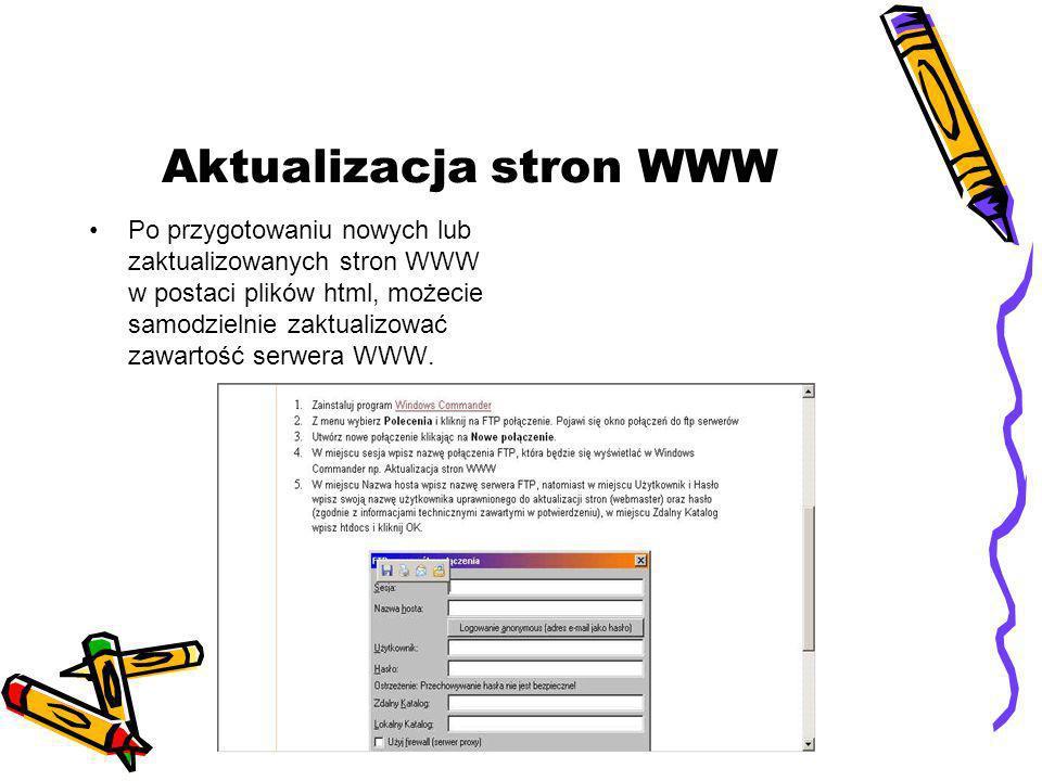 Aktualizacja stron WWW Po przygotowaniu nowych lub zaktualizowanych stron WWW w postaci plików html, możecie samodzielnie zaktualizować zawartość serwera WWW.
