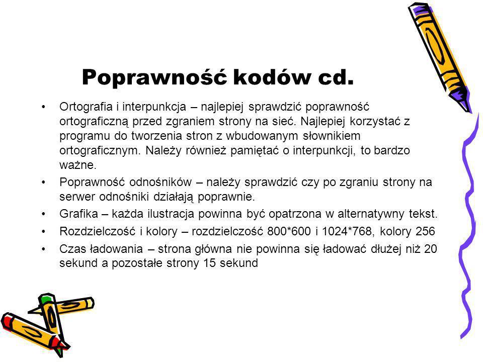 Poprawność kodów cd. Ortografia i interpunkcja – najlepiej sprawdzić poprawność ortograficzną przed zgraniem strony na sieć. Najlepiej korzystać z pro