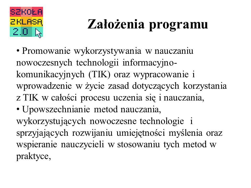 Założenia programu Promowanie wykorzystywania w nauczaniu nowoczesnych technologii informacyjno- komunikacyjnych (TIK) oraz wypracowanie i wprowadzeni