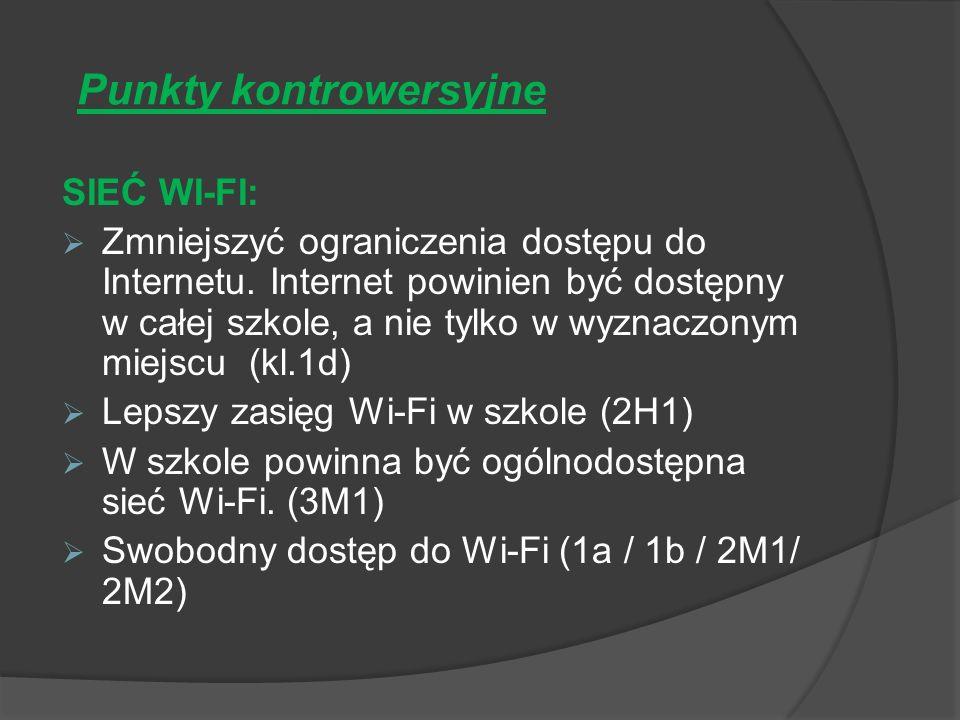 Punkty kontrowersyjne SIEĆ WI-FI: Zmniejszyć ograniczenia dostępu do Internetu.