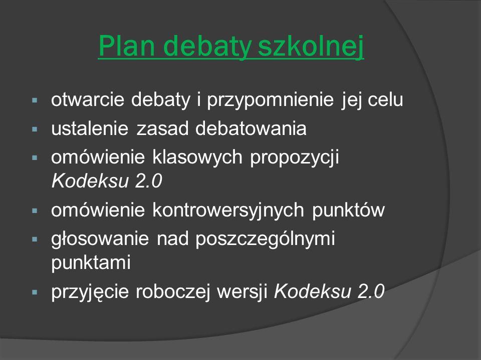 Plan debaty szkolnej otwarcie debaty i przypomnienie jej celu ustalenie zasad debatowania omówienie klasowych propozycji Kodeksu 2.0 omówienie kontrowersyjnych punktów głosowanie nad poszczególnymi punktami przyjęcie roboczej wersji Kodeksu 2.0