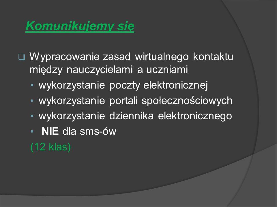 Komunikujemy się Wypracowanie zasad wirtualnego kontaktu między nauczycielami a uczniami wykorzystanie poczty elektronicznej wykorzystanie portali społecznościowych wykorzystanie dziennika elektronicznego NIE dla sms-ów (12 klas)