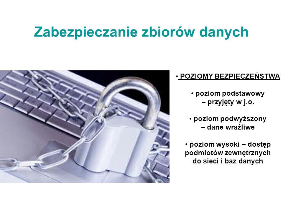 Zabezpieczanie zbiorów danych POZIOMY BEZPIECZEŃSTWA poziom podstawowy – przyjęty w j.o.