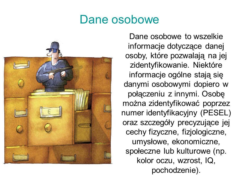 Dane osobowe Dane osobowe to wszelkie informacje dotyczące danej osoby, które pozwalają na jej zidentyfikowanie.