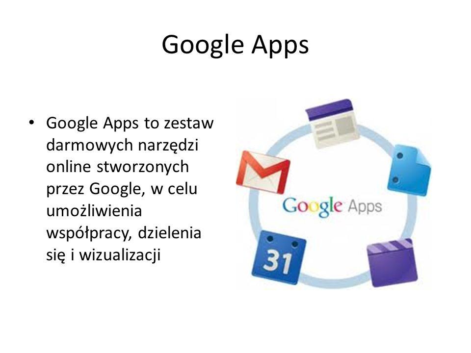Google Apps Google Apps to zestaw darmowych narzędzi online stworzonych przez Google, w celu umożliwienia współpracy, dzielenia się i wizualizacji