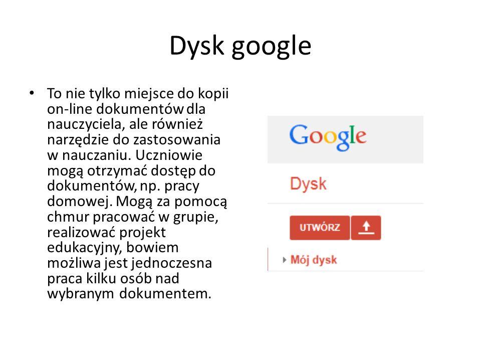 Dysk google To nie tylko miejsce do kopii on-line dokumentów dla nauczyciela, ale również narzędzie do zastosowania w nauczaniu. Uczniowie mogą otrzym