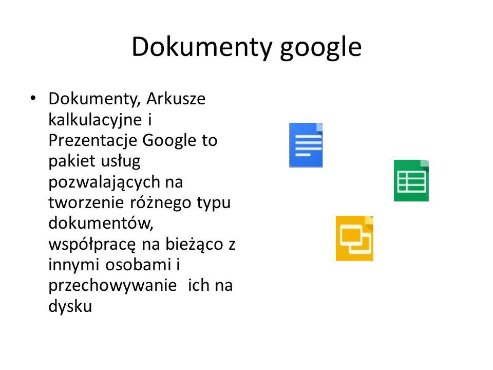 Dokumenty google Dokumenty, Arkusze kalkulacyjne i Prezentacje Google to pakiet usług pozwalających na tworzenie różnego typu dokumentów, współpracę n