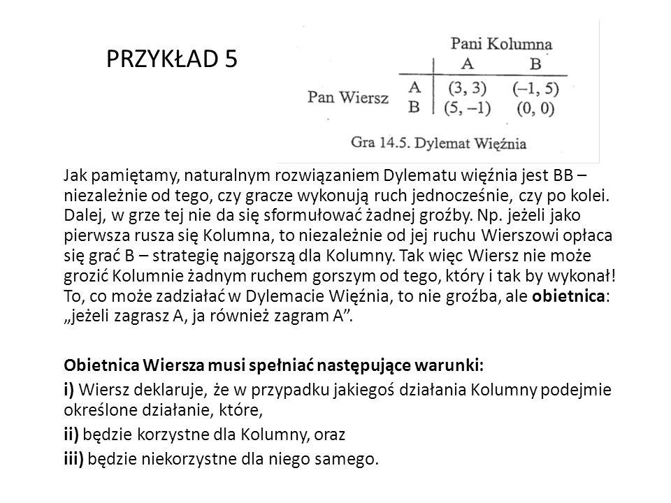 Jeśli Kolumna uwierzy w obietnicę Wiersza, ma do wyboru AA (jeśli zagra A) oraz BB (jeśli zagra B).