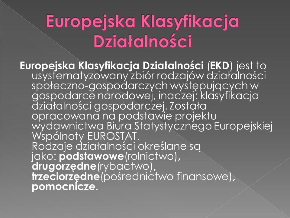 Europejska Klasyfikacja Działalności ( EKD ) jest to usystematyzowany zbiór rodzajów działalności społeczno-gospodarczych występujących w gospodarce narodowej, inaczej: klasyfikacja działalności gospodarczej.
