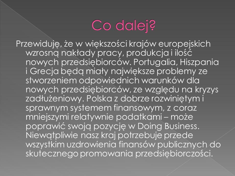 Przewiduję, że w większości krajów europejskich wzrosną nakłady pracy, produkcja i ilość nowych przedsiębiorców.