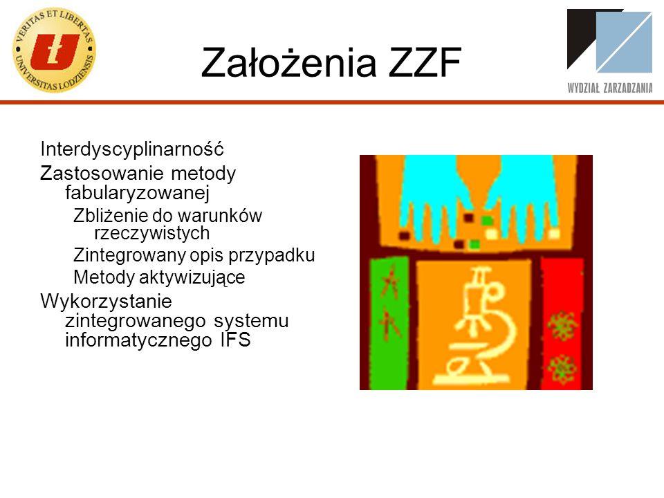 Założenia ZZF Interdyscyplinarność Zastosowanie metody fabularyzowanej Zbliżenie do warunków rzeczywistych Zintegrowany opis przypadku Metody aktywizu
