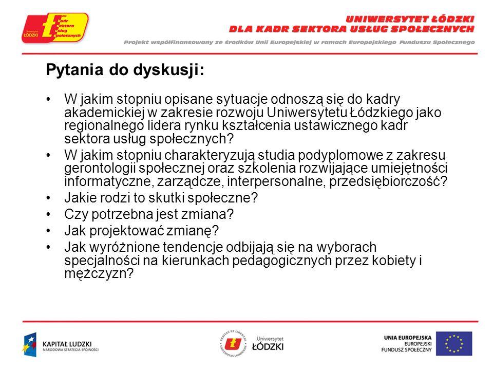 Pytania do dyskusji: W jakim stopniu opisane sytuacje odnoszą się do kadry akademickiej w zakresie rozwoju Uniwersytetu Łódzkiego jako regionalnego lidera rynku kształcenia ustawicznego kadr sektora usług społecznych.