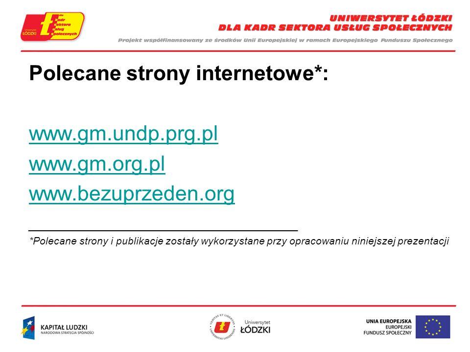 Polecane strony internetowe*: www.gm.undp.prg.pl www.gm.org.pl www.bezuprzeden.org _____________________________________________________ *Polecane strony i publikacje zostały wykorzystane przy opracowaniu niniejszej prezentacji