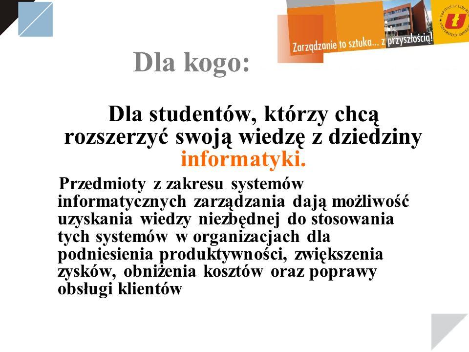 Dla kogo: Dla studentów, którzy chcą rozszerzyć swoją wiedzę z dziedziny informatyki.