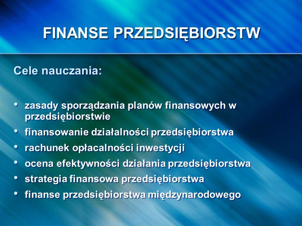 Cele nauczania: zasady sporządzania planów finansowych w przedsiębiorstwie finansowanie działalności przedsiębiorstwa rachunek opłacalności inwestycji