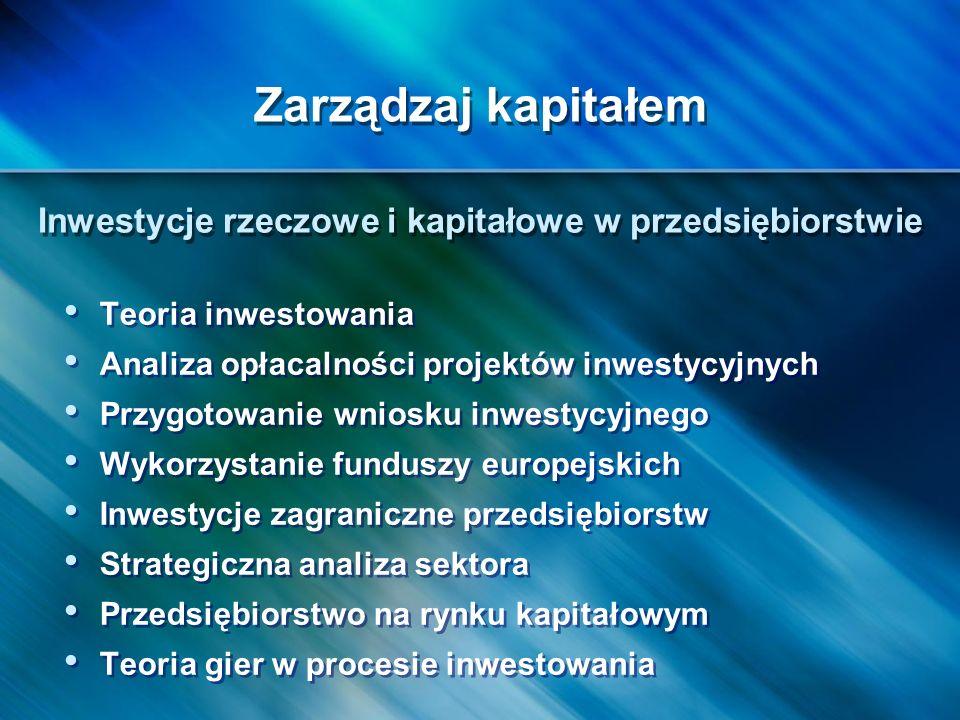 Teoria inwestowania Analiza opłacalności projektów inwestycyjnych Przygotowanie wniosku inwestycyjnego Wykorzystanie funduszy europejskich Inwestycje