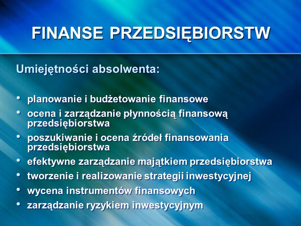 FINANSE PRZEDSIĘBIORSTW Umiejętności absolwenta: planowanie i budżetowanie finansowe ocena i zarządzanie płynnością finansową przedsiębiorstwa poszuki