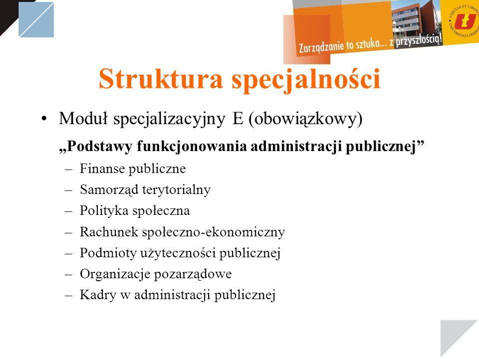Struktura specjalności Moduł specjalizacyjny E (obowiązkowy) Podstawy funkcjonowania administracji publicznej –Finanse publiczne –Samorząd terytorialn