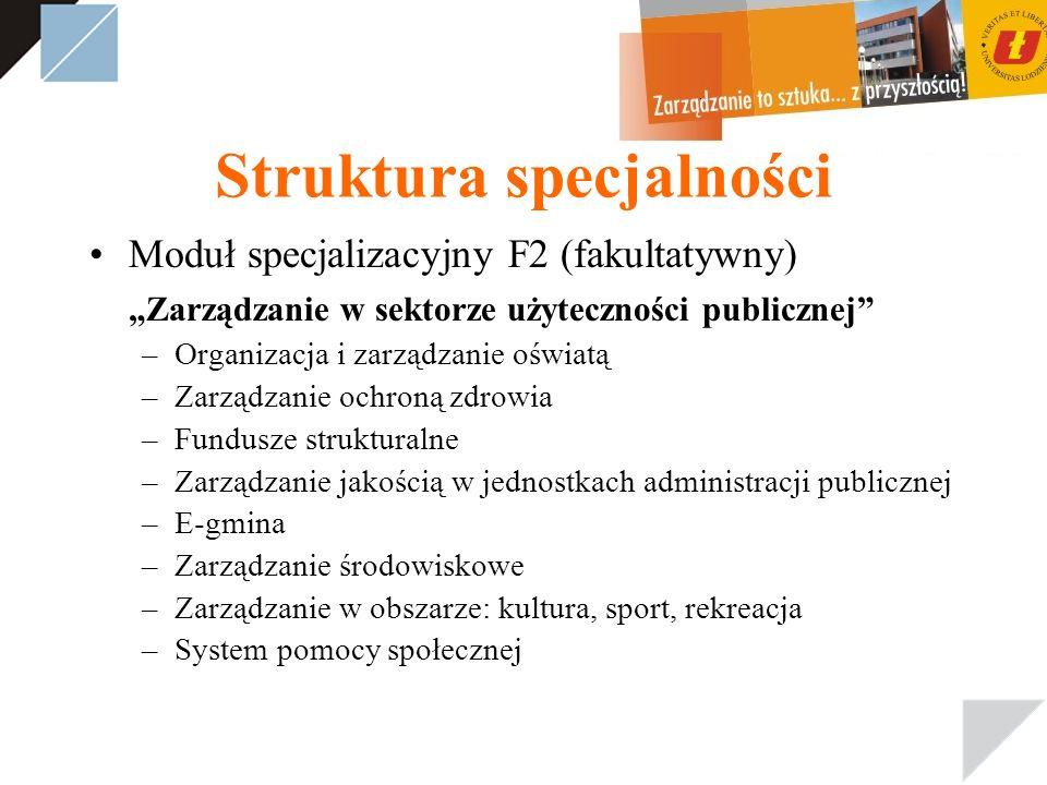 Struktura specjalności Moduł specjalizacyjny F2 (fakultatywny) Zarządzanie w sektorze użyteczności publicznej –Organizacja i zarządzanie oświatą –Zarz