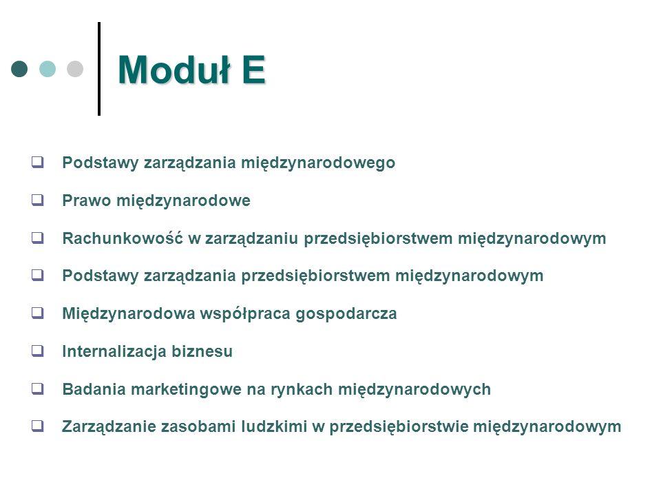 Moduł E Podstawy zarządzania międzynarodowego Prawo międzynarodowe Rachunkowość w zarządzaniu przedsiębiorstwem międzynarodowym Podstawy zarządzania p
