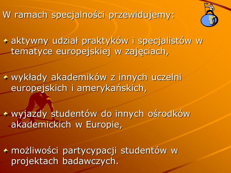 W ramach specjalności przewidujemy: aktywny udział praktyków i specjalistów w tematyce europejskiej w zajęciach, wykłady akademików z innych uczelni europejskich i amerykańskich, wyjazdy studentów do innych ośrodków akademickich w Europie, możliwości partycypacji studentów w projektach badawczych.