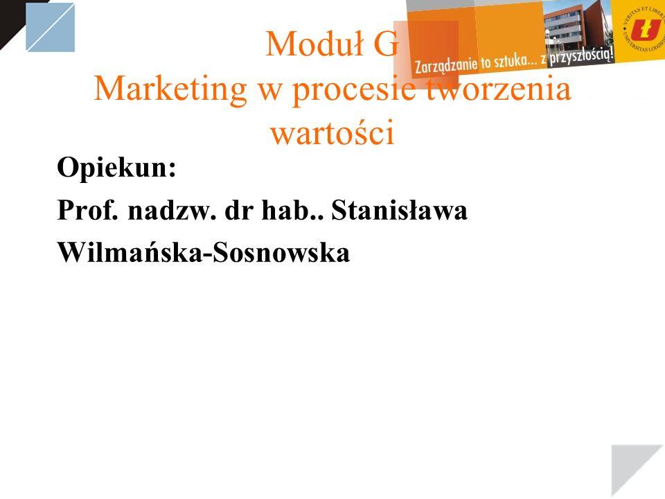 Moduł G Marketing w procesie tworzenia wartości Opiekun: Prof.