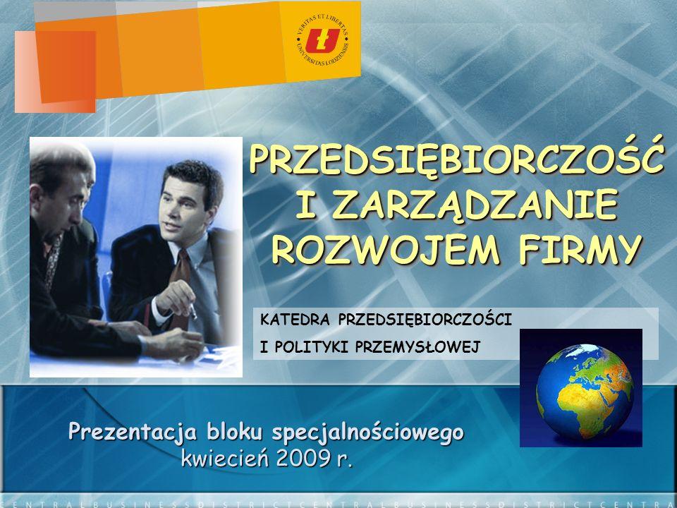 PRZEDSIĘBIORCZOŚĆ I ZARZĄDZANIE ROZWOJEM FIRMY Prezentacja bloku specjalnościowego kwiecień 2009 r.