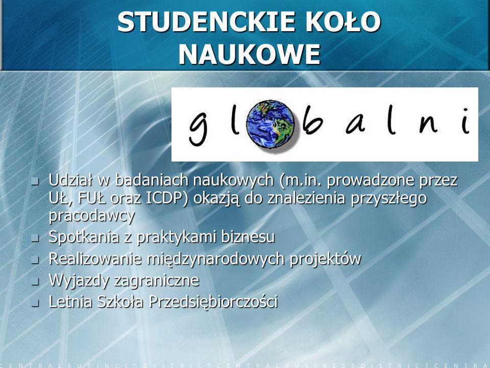 STUDENCKIE KOŁO NAUKOWE Udział w badaniach naukowych (m.in.
