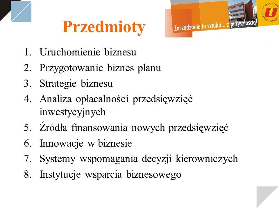 Przedmioty 1.Uruchomienie biznesu 2.Przygotowanie biznes planu 3.Strategie biznesu 4.Analiza opłacalności przedsięwzięć inwestycyjnych 5.Źródła finans