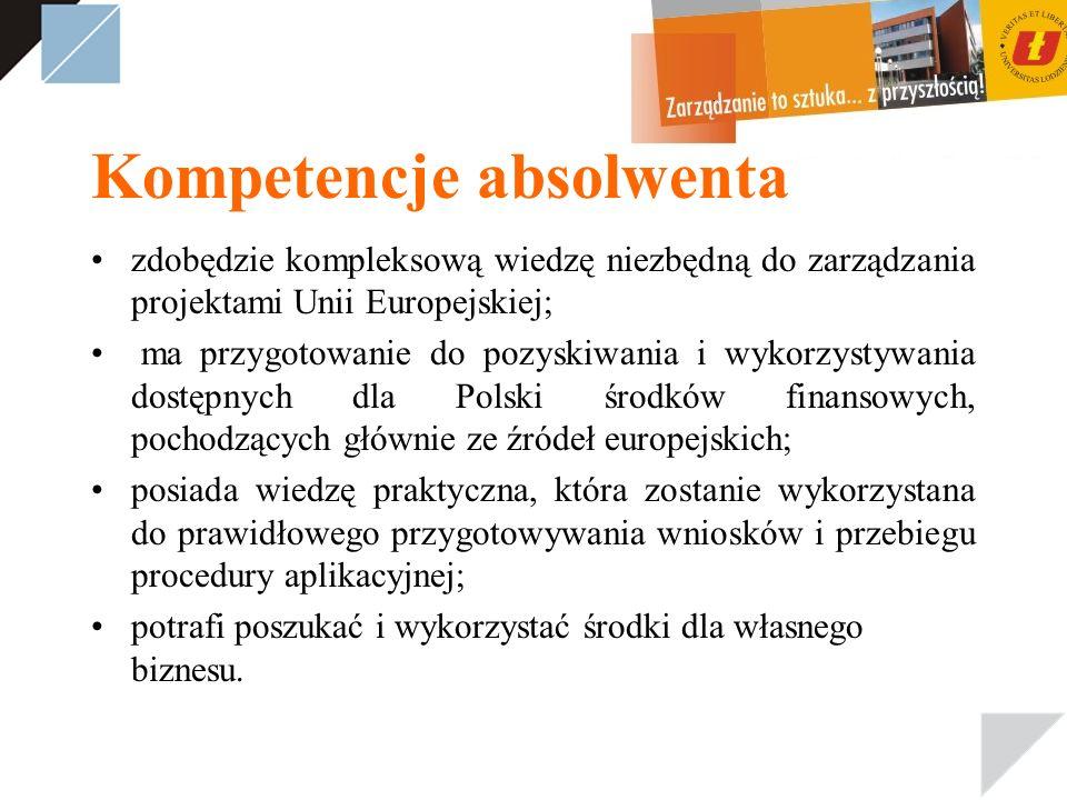 Kompetencje absolwenta zdobędzie kompleksową wiedzę niezbędną do zarządzania projektami Unii Europejskiej; ma przygotowanie do pozyskiwania i wykorzystywania dostępnych dla Polski środków finansowych, pochodzących głównie ze źródeł europejskich; posiada wiedzę praktyczna, która zostanie wykorzystana do prawidłowego przygotowywania wniosków i przebiegu procedury aplikacyjnej; potrafi poszukać i wykorzystać środki dla własnego biznesu.