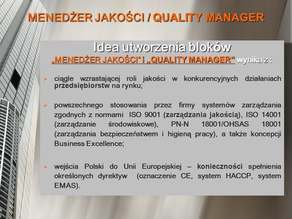 MENEDŻER JAKOŚCI / QUALITY MANAGER Idea utworzenia blok ów MENEDŻER JAKOŚCI i QUALITY MANAGER wynika z : ciągle wzrastającej roli jakości w konkurencyjnych działaniach przedsiębiorstw na rynku; powszechnego stosowania przez firmy systemów zarządzania zgodnych z normami ISO 9001 (zarządzania jakością), ISO 14001 (zarządzanie środowiskowe), PN-N 18001/OHSAS 18001 (zarządzania bezpieczeństwem i higieną pracy), a także koncepcji Business Excellence ; wejścia Polski do Unii Europejskiej – konieczności spełnienia określonych dyrektyw (oznaczenie CE, system HACCP, system EMAS).