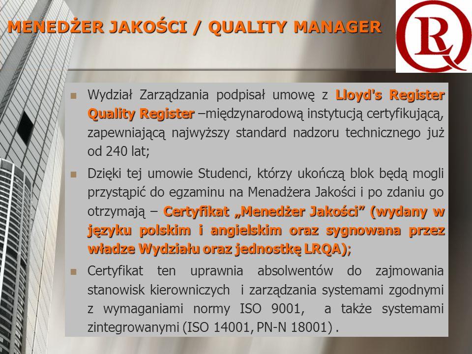 Lloyd s Register Quality Register Wydział Zarządzania podpisał umowę z Lloyd s Register Quality Register –międzynarodową instytucją certyfikującą, zapewniającą najwyższy standard nadzoru technicznego już od 240 lat; Certyfikat Menedżer Jakości (wydany w języku polskim i angielskim oraz sygnowana przez władze Wydziału oraz jednostkę LRQA); Dzięki tej umowie Studenci, którzy ukończą blok będą mogli przystąpić do egzaminu na Menadżera Jakości i po zdaniu go otrzymają – Certyfikat Menedżer Jakości (wydany w języku polskim i angielskim oraz sygnowana przez władze Wydziału oraz jednostkę LRQA); Certyfikat ten uprawnia absolwentów do zajmowania stanowisk kierowniczych i zarządzania systemami zgodnymi z wymaganiami normy ISO 9001, a także systemami zintegrowanymi (ISO 14001, PN-N 18001).