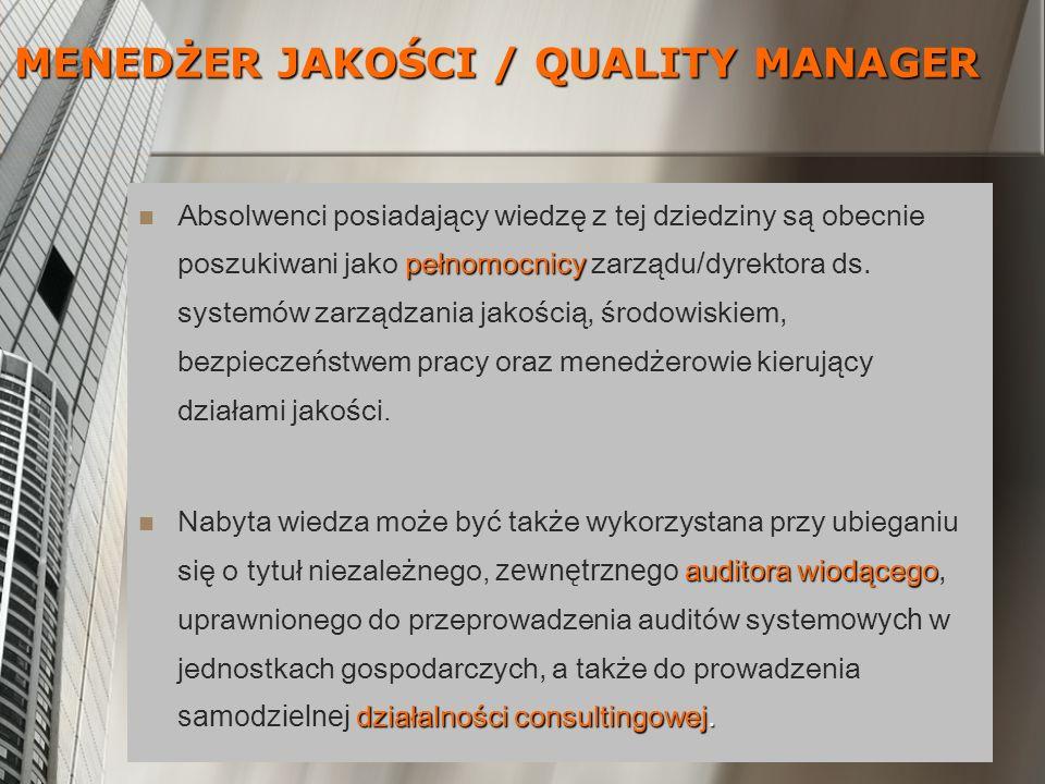 pełnomocnicy Absolwenci posiadający wiedzę z tej dziedziny są obecnie poszukiwani jako pełnomocnicy zarządu / dyrektora ds. systemów zarządzania jakoś