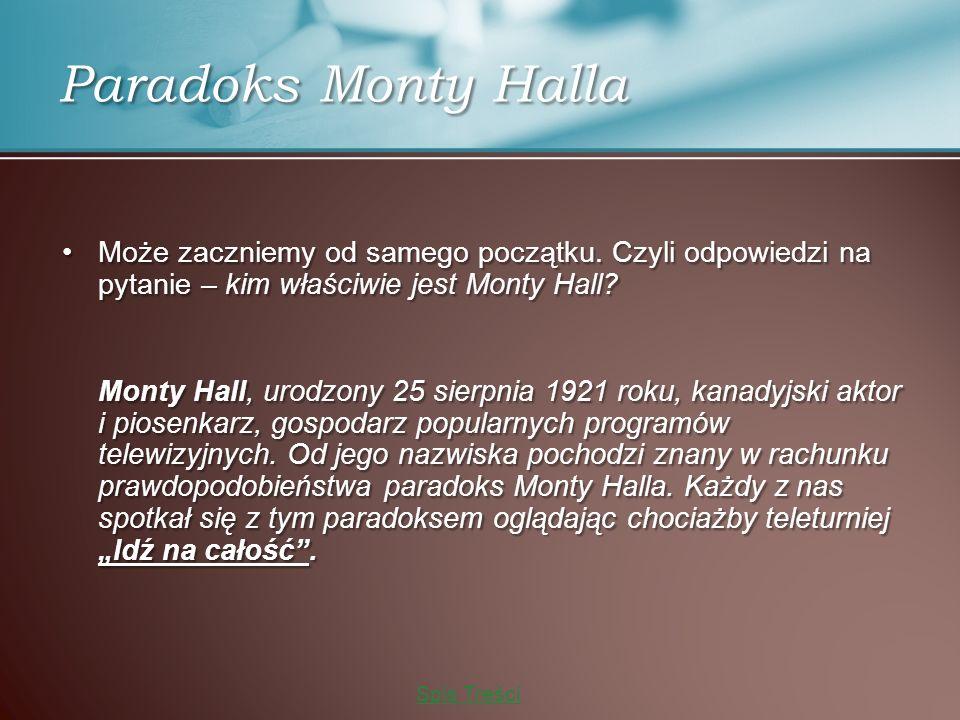 Paradoks Monty Halla Może zaczniemy od samego początku.