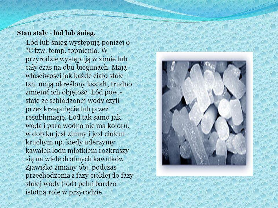 Stan stały - lód lub śnieg.Lód lub śnieg występują poniżej 0 °C tzw.